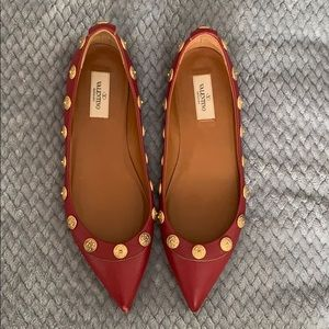 Valentino red leather flats